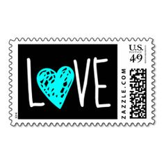 Love Stamp with Turquoise Heart on Black