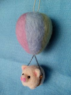 felt hot air balloon necklace // rainbow by DreamingOnTheCloud