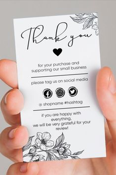 Thank you cards messages business, Printable Small Business Insert card / Simple Shop Packaging Card Template / Insert Card Template / Editable Small Business Cards, Business Thank You Cards, Printable Business Cards, Business Ideas, Handmade Wedding Favours, Rustic Wedding Favors, Wedding Favor Bags, Cute Thank You Cards, Thank You Card Design
