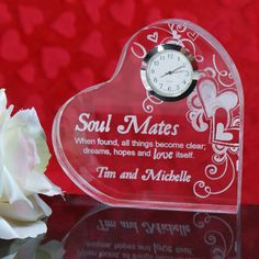 Personalized Engraved Soul Mates Heart Clock - Gifts Happen Here