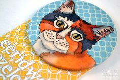 Kitty Cat Fabric Badge Large Badge Pin Badge Fabric Covered Button by ceridwenDESIGN http://ift.tt/29u1r67