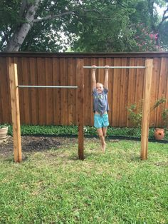 Backyard Jungle Gym Bars (without concrete!) - Kaycee Cavender - Backyard Jungle Gym Bars (without concrete!) House Homemade: Backyard Jungle Gym Bars (without concrete! Backyard Jungle Gym, Backyard Playset, Backyard For Kids, Backyard Projects, Backyard Patio, Concrete Backyard, Backyard Ideas, Backyard Seating, Backyard Landscaping
