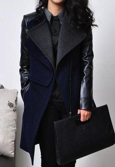 Womens Blue Woolen Leatherette Knee Length Slim Trench Coat