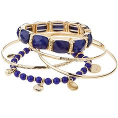 Beaded Bangle Bracelet With Charms - Blue/Gold (37 BRL) ❤ liked on Polyvore featuring jewelry, bracelets, accessories, beads jewellery, blue bangle bracelet, charm bangles, gold bracelet bangle and gold charms