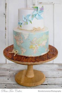 map wedding cake,travel themed wedding cakes