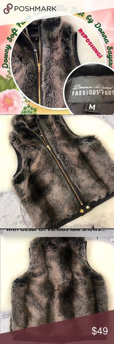 """Faux Chinchilla Fur Vest Bought on Posh & Love everything about this vest - except the size.  Says """"M"""" but fits me (usually a 4 on top, 36"""" bust, broad shoulders & back) as if it were an extra small.  Someone who wears 0-2 on top would look stunning in this...it's sooooo soft & realistic looking, sturdy & well-made, perfect condition.  Sigh. 😢  Feel free to ask me any questions.  Original seller's description & measurements are above.    This vest is a find. Donna Salyers Tops"""
