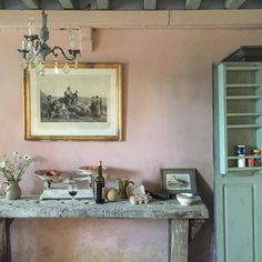 Annie Sloan #Antoinette wall in Chalk Paint  and Duck Egg Blue on the cupboard. #AnnieSloanInspiration