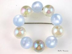 Vintage Baby Blue & Iridescent Lucite BALL Circle Brooch Pin 2 1/4""