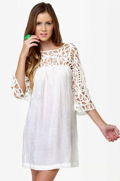 love this on so many levels! motown white dress from lulus $38 http://www.lulus.com/products/motown-white-dress/35501.html