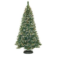 7 Foot 84 Inch Artificial Frosted Pine Christmas Tree PreLit with Clear Lights Includes Pine Cones * Read more at the image link.