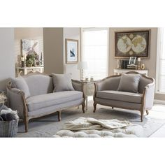 Lowest price online on Baxton Studio 2 PC Set Chantal French Country White Wash Weathered Oak Distressed Beige Linen Upholstered Sofa and Loveseat Living room Set New Living Room, Living Room Sets, Living Room Furniture, Home Furniture, Living Room Decor, Cheap Furniture, Discount Furniture, Rustic Furniture, Sofa Design