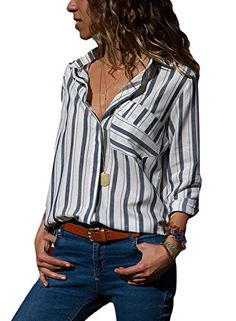 f22e90462ff18 HOTAPEI Womens Casual V Neck Striped Chiffon Blouses Long Sleeve Button  Down Shirts Tops Front Pockets