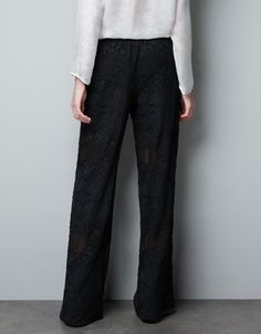 SILK DEVORE TROUSERS - Trousers - Woman - ZARA Canada