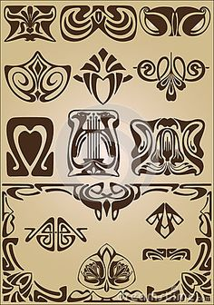 Ornamento do projeto dos elementos e dos cantos de Art Nouveau