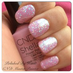 CND Shellac in Cake Pop and Lecente glitter. Pink, sparkly nails!