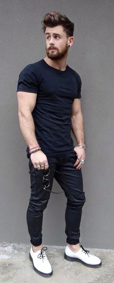 Black Tee and Jeans, with White Creepers. Men's Spring Summer Street Style Fashion.