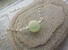 Scottish Sea Glass Rare Marble and Sterling Silver Necklace - SWIRL  £20.00