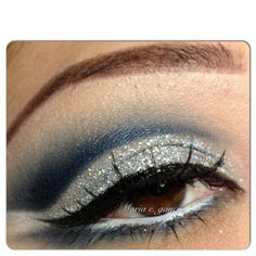 Silver and blue eyeshadow