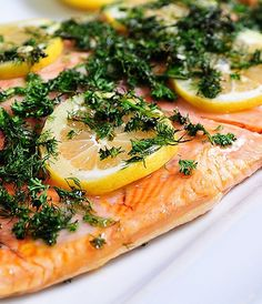 Lemon Dill Salmon Recipe - This salmon is ready in less than 30 minutes and perfect for a light weeknight meal or easy entertaining!