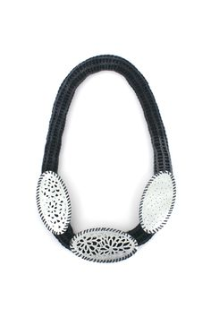 'Embrace the lace'  Necklace, 2012, wool, cotton, zinc.  Made by Malou Paul.