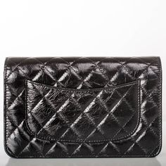 """Chanel """"So Black"""" 2.55 Reissue Quilted Calfskin Wallet On Chain (WOC)"""
