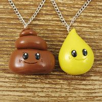 HAHA! BFF Best Friends Necklace Set - Pee and Poo