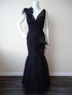 Ml Monique Lhuillier Black Tulle Mermaid Ball Gown | eBay