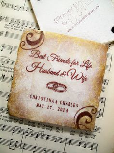 Coasters, Best Friends for Life, Husband and Wife, Personalized Wedding Gift Coasters, Set of 4 Coasters, Prayer Notes by Cynthia
