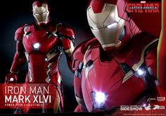 The Hot Toys Iron Man Mark XLVI - Sixth Scale Figure Power Pose Series is now available at Sideshow.com for fans of Marvels Captain America: Civil War