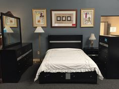 Alamar is a 4 piece queen platform bed set with available chest. $649 for set and $$189 for chest.