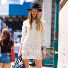 White lace and a fedora for a cool, urban boho vibe: How to wear white lace when it's not your wedding day :: Fox In Flats