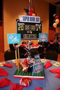 Football Theme Bar Mitzvah Centerpieces by Life O' The Party - mazelmoments.com