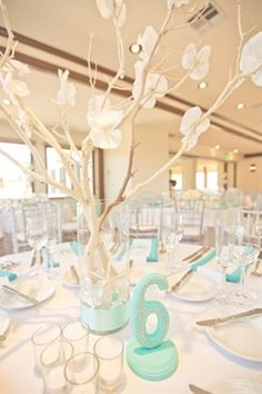 Manzanita branches and orchid beach centerpiece