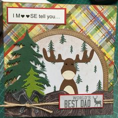 Fathers Day Moose card Worlds Best Dad, I Card, Fathers Day, Moose, Dads, Kids Rugs, Christmas Ornaments, Holiday Decor, Design