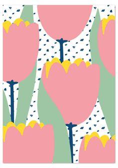 Tulppaanit (isot vaaleanpunaiset) postikortti