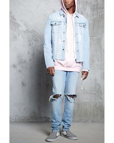 Buy Forever 21 Men's Blue Distressed Denim Jacket, starting at $36. Similar products also available. SALE now on!