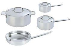 This high-end stainless steel cookware from Belgium features two types of construction: Skillets and pieces with sloped sides have an aluminum core and are finished in three layers of stainless steel to evenly distribute heat all the way up the sides, preventing scorching; straight-sided pans . All pieces simmer steadily, heat evenly, and brown beautifully. If you're a serious cook and can afford the price, go for it! (from $100 for an 8-inch skillet to $610 for a 10-piece set).