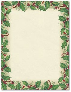 Candy Cane Holly Letterhead Christmas Stationery  XMasClipart