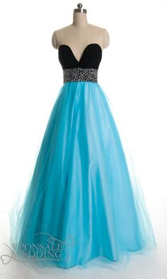 two tone sequins ball gown blue jar DVP0019 | VPonsale Wedding Custom Dresses