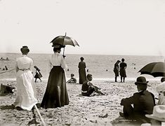 Victorian Beach Scene Long Dresses Umbrellas by EclecticForest
