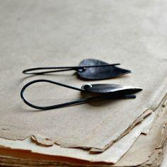 Sterling silver earrings minimalist earrings rustic by noblegnome