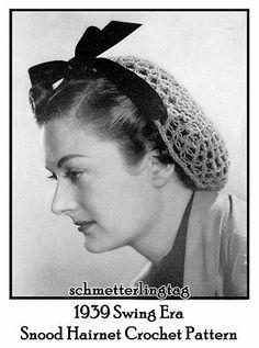 1939 Swing Era Vintage Crochet Snood Hairnet Hair Net Fishnet Pattern Ribboned | eBay