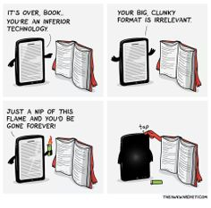 Ebook vs print.  (theawkwardyeti.com)