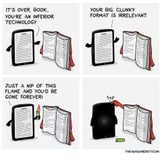 Ebook vs print.  (theawkwardyeti.com)