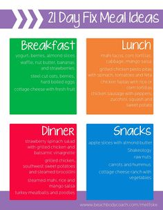 21 Day Fix meal ideas, trackers, resources and more! - 21 Day Fix meal ideas, trackers, resources and more! 21 Day Fix Menu, 21 Day Fix Diet, 21 Day Fix Meal Plan, 21 Day Fix Snacks, 21 Day Fix Extreme, Herbalife, Advocare, Fixed Menu, Beachbody 21 Day Fix