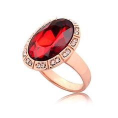 Rose Gold Plated Deco Cocktail Ring Red Oval Cubic Zirconia Size 8 9 USA Seller #Unbranded #Cocktail