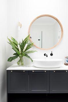 Visit our website Bathroom Renovation diy Interior Design Tips, Bathroom Interior Design, Bathroom Renovations, Home Renovation, Estilo Tropical, Guest Toilet, House Colors, Round Bathroom Mirror, Bathroom Inspo