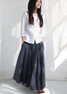 Gray Large Sweep A line Linen Side Pockets Dresses Elastic Waist Summer Women Plus Size Linen Skirt /Custom Made/ 13-A11