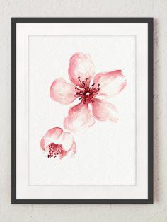 Kirschblüte Blumen Set von 4 Aquarell Drucke Pink Home Decor