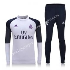 2016-17 Real Madrid White and Black Thailand Soccer Tracksuit